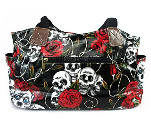 Patterns Shoes Bag Day Butterfly Oilcloth amp; W01SKR Birds Polka Roses Skull Tote BH Skulls Grey Shopper Dot GFM OWL Floral wqgtxzOIq