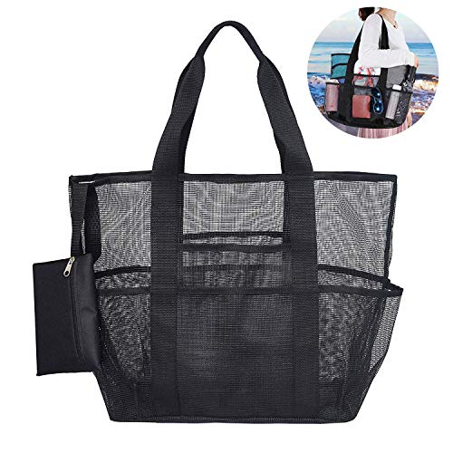 Mesh Beach Bag,Toy Tote Bag,Gym Bag,Grocery Picnic Bag with Oversized Pockets