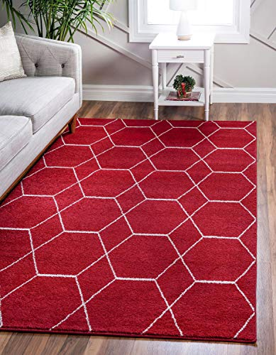 Unique Loom Trellis Frieze Collection Lattice Moroccan Geometric Modern Red Area Rug (3' 3 x 5' - Modern Red Collection Rug