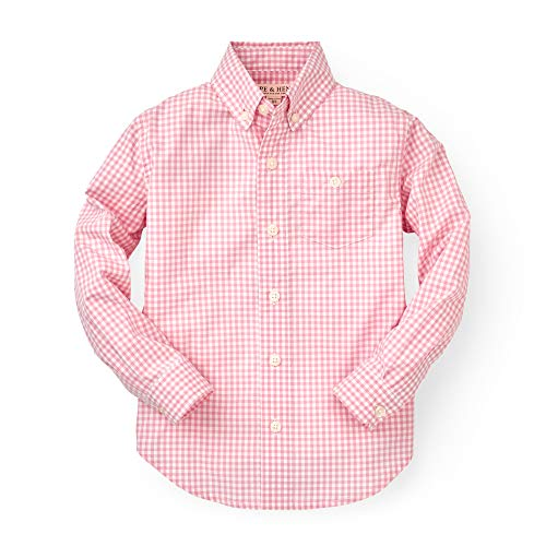 Hope & Henry Boys' Pink Small Check Gingham Woven Poplin Button Down Shirt