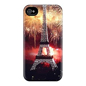 For Iphone 4/4s Protector Case Fireworks At Eiffel Tower Phone Cover