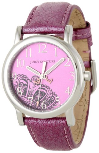 Juicy Couture Leather Pink (Juicy Couture Women's 1900809 Happy Pink Metallic Leather Strap Watch)
