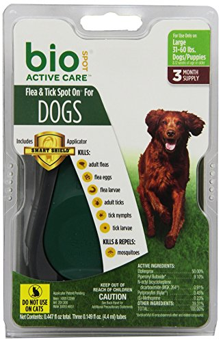 Bio Spot Active Care Flea & Tick Spot On With Applicator for Large Dogs (31-60 lbs.) 3 Month Supply (Best Spot On Flea Treatment For Dogs)