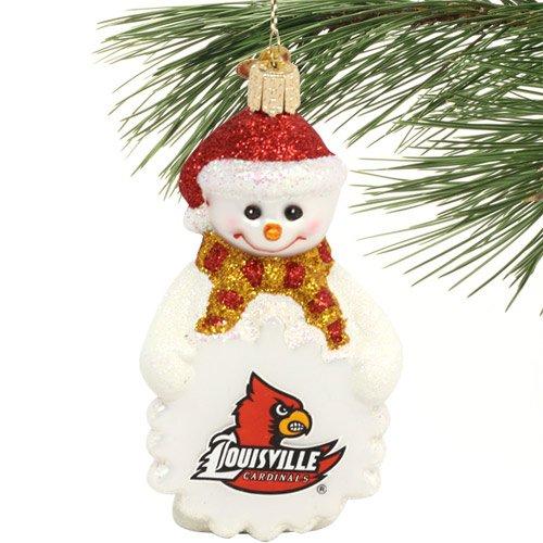 NCAA Louisville Cardinals Glass Snowman Ornament