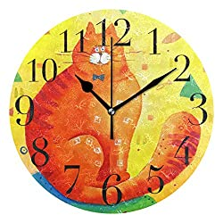 ATONO Orange Cat Fish Watercolor Silent Non-Ticking Round Wall Clock [Battery Operated] Home Decorative Easy to Read Aesthetic Kitchen Office School Living Classroom Bedroom Use