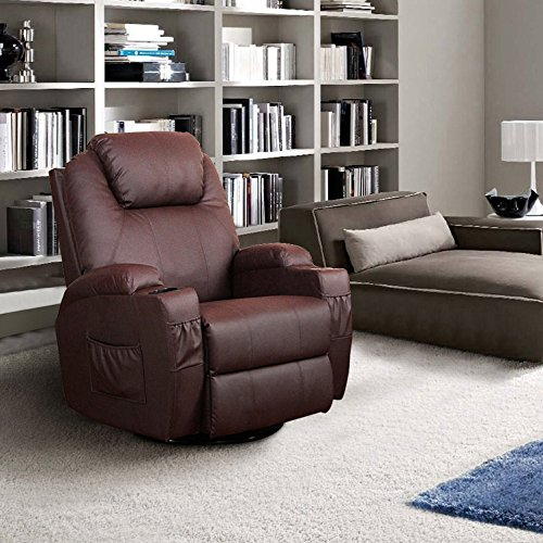 Massage Recliner PU Leather Ergonomic Lounge Heated Chair 360 Degree Swivel (Brown) price