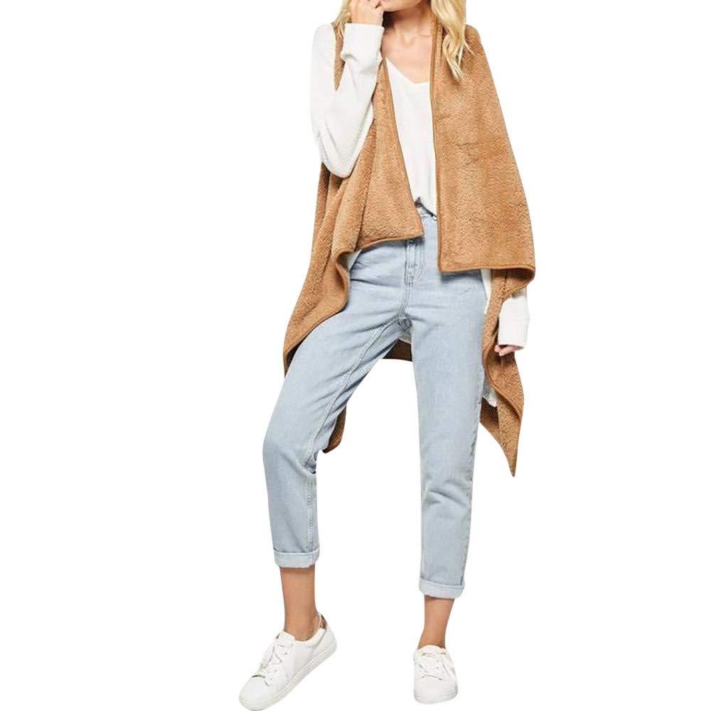 Chanyuhui Cardigan Warm Vest for Women Clearance Woolen Waterfall Lady Sleeveles Kimono Cardigan Coat Jackets Outwear Blouse