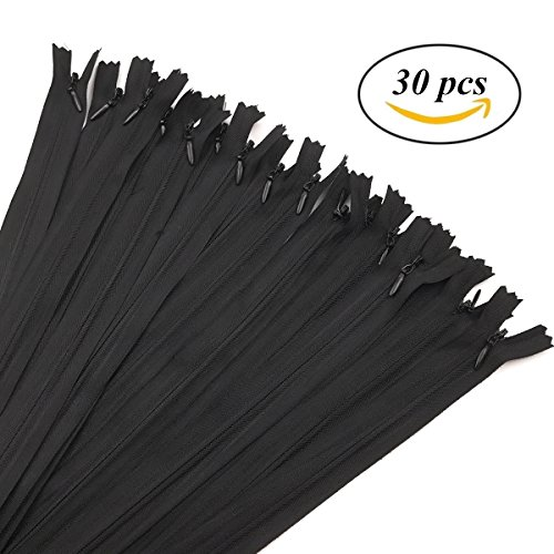 30Pcs 16 inch 40cm Nylon Coil Zippers Tailor Sewing Zippers For DIY Sewing Crafting Tools Garment Accessories Invisible Zippers, Black