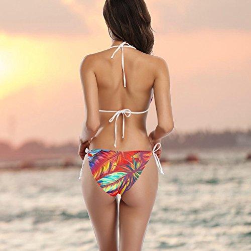 Exotiques Deux Colorés Femme Bikini Alaza De Bain Multicolore Maillot Pièces Plumes OnXtfnIxw
