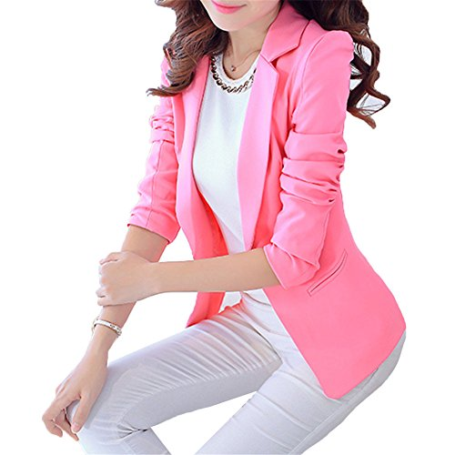 MWW Fashion Casual Work Blazer Office Long - sleeved Pink Jacket Lightweight Slim Fit Suits for Women and Juniors L