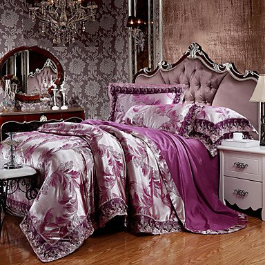 W&P Deep Purple Queen bedding set Super Deluxe silk/cotton blend lace , (Super Deluxe Lace)
