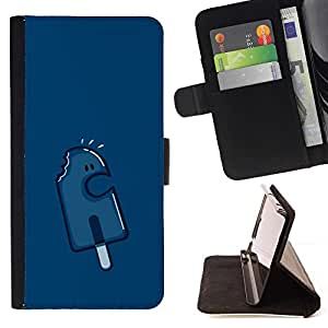 For Apple iPhone SE / iPhone 5 / iPhone 5S Case , Crema Azul marino Popsicle Carácter- la tarjeta de Crédito Slots PU Funda de cuero Monedero caso cubierta de piel