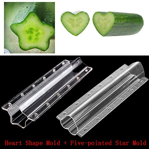 (Hacloser Cucumber Shaping Mold, Heart Star Shape Vegetable Growth Forming Mould Tool (Heart Shape + Five-pointed)