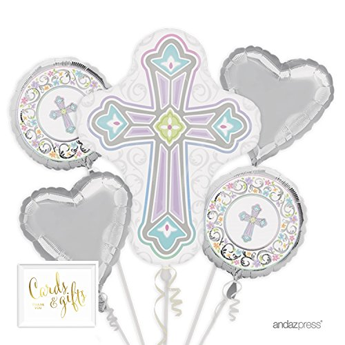(Andaz Press Balloon Bouquet Party Kit with Gold Cards & Gifts Sign, Bouquet White Cross for Christening Communion Baptism,)