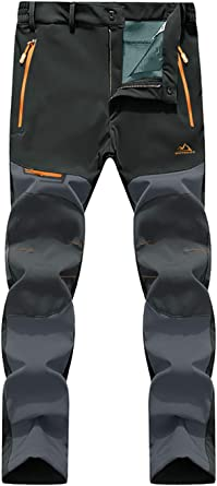 EKLENTSON - Pantalones Impermeables para Hombre, con Forro Polar, Impermeables, para esquí, Nieve, Escalada, Softshell, Ropa de Senderismo con Varios ...
