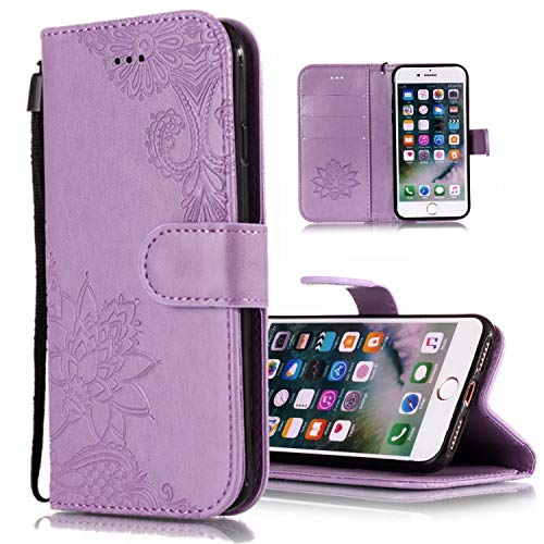 MerKuyom Embossed Lotus Flower Case Compatible with iPhone Xs Max, [Kickstand] iPhone Xs MAX Wrist Strap Premium PU Leather Wallet Pouch Flip Stand Cover Skin Case for iPhone Xs Max 6.5-inch (Purple)