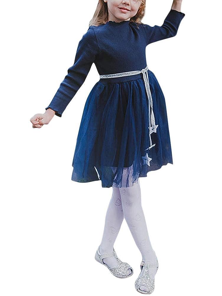 Minetom Ragazze Autunno Inverno Abito Chic Manica Lunga Punto donda Principessa Festa Vestito Bambini Bimba Bambino 2-7 Anni