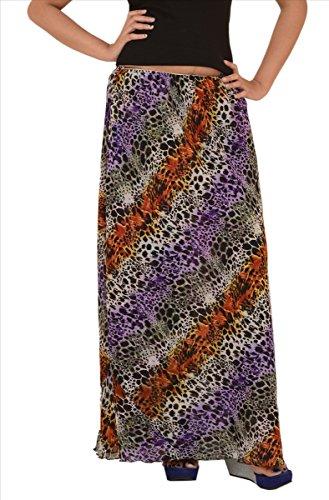 Skirts 'N Scarves SnS Georgette Printed Reversible Straight Long Skirt (Reversible Skirt Stretch)
