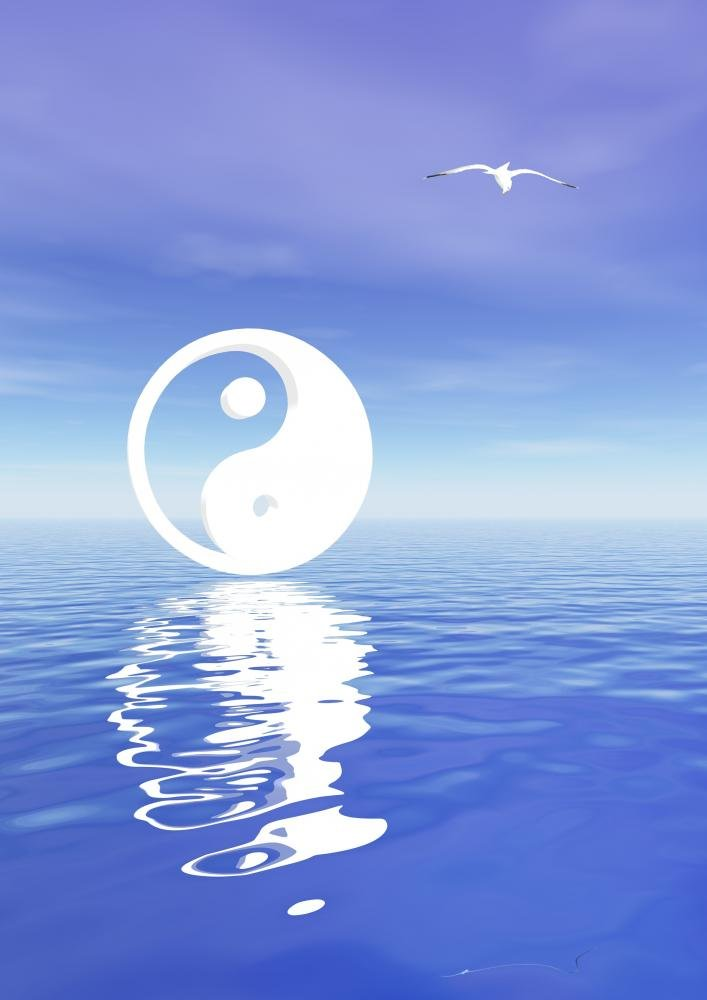 18 in H x 13 in W Wallmonkeys Yin and Yang on Blue Ocean Wall Decal Peel and Stick Graphic WM201494