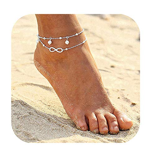 Wishoney Infinity Foot Chain Boho Beach Jewelry Layer Anklet for Women Endless Love (Island Ankle Bracelet)