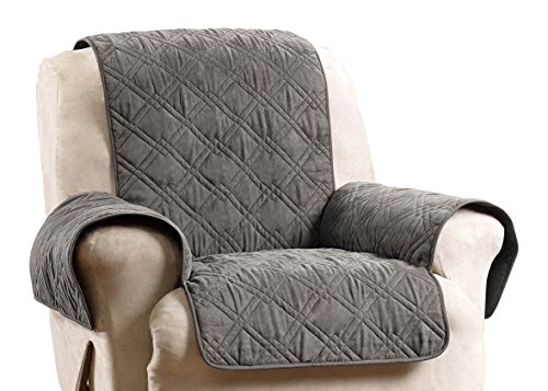 Leather Deluxe Recliner (Sure Fit SF44833 Deluxe Non Skid Waterproof Pet Recliner Furniture Cover - Graphite)