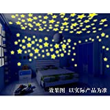 Wolisen 100pcs 3D Stars Glow In The Dark Luminous Ceiling Wall Stickers Kids Baby Bedroom (Mixed Color)