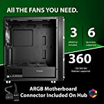 GameMax-F15-Mesh-ARGB-PC-Gaming-Case-E-ATX-2-x-200mm-ARGB-Fans-Included-1-x-120mm-ARGB-Fan-Included-Mobo-Sync-Hub-Included-RF-Remote-Controller-6-Fan-Support-Water-Cooling-Support-Black