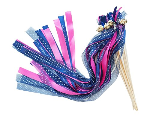 Craft Wand Fairy - Pack of 30 Wedding Party Ribbon Wands Streamers Fairy Stick with Bells for Bridal Baby Shower Christmas Birthday Nursery Decoration Backdrops Photo Props (Army Blue, 21.5