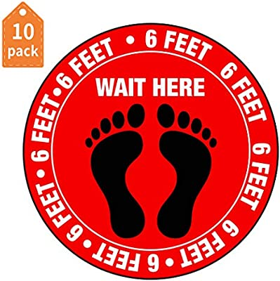 Please Keep 6 Feet Apart Decal 10 Pack Safety Floor Signs Marker 12 Round Vinyl Removable Stickers Waterproof Adhesive Anti-Slip Lamination Easy to Clean Social Distancing Floor Decals
