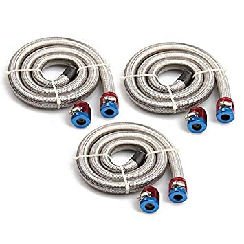 Big-Autoparts 3/8'' x 3' Universal Stainless Steel Braided Fuel Line with 2 Hose Clamps 3 8 fuel line hose