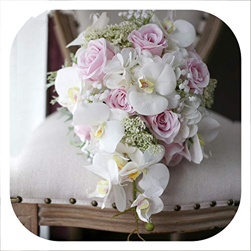 mamamoo Ivory Pink Cascading Bridal BouquetsMariage Roses Orchid Artificial Silk Flower Handmade Wedding - Cascading Orchid Bouquet