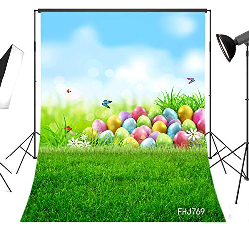LB Spring Easter Backdrop for Photography 5x7ft Fabric Green Grass and Colorful Eggs Background Customized Children Kids Adult Portraits Photo Backdrop Studio Props,Washable