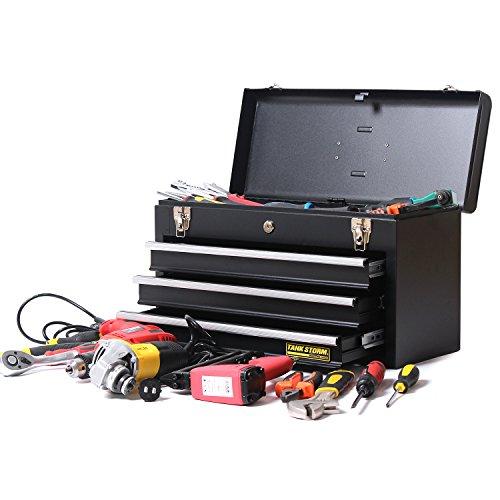 TANKSTORM Portable Steel Tool Chest with Drawers,20.6'' 4-Drawer Box Storage Organizer Cabinet Metal Toolbox,Black(X4) by TANKSTORM (Image #4)