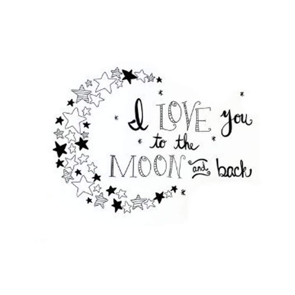 Baby Crib Wall Decor Black, 16WX11.5H Kids Room Wall Decal Quotes I Love You to The Moon and Back- Moon and Stars Wall Sticker Baby Nursery Wall Decor
