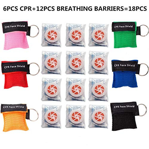 KONGDY 6PCS CPR Face Mask & 12PCS Breathing Barriers CPR Face Shields Keychain Ring CPR Pocket Mask with One-Way Valve Emergency Kit for First Aid or CPR Training