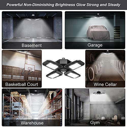 2 Pack 100W LED Garage Lights, 10000LM Garage Lights Ceiling LED, Best for Garage, Basement, E26/E27 Base, CRI 85, 6500K Deformable LED Garage Lighting Fixture with Adjustable Multi-Position Panels