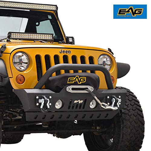 - EAG Front Bumper Stubby with Skid and Winch Plate Fit for 07-18 Jeep Wrangler JK Offroad