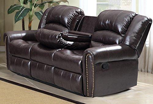 Meridian Furniture Nailhead Reclining Sofa, Brown from Meridian Furniture