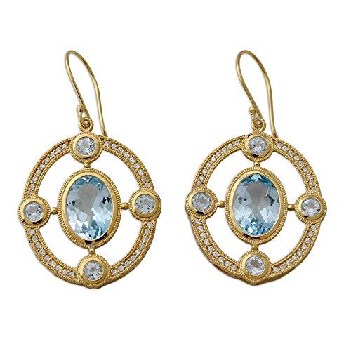 NOVICA Multi-Gem Blue Topaz 22k Gold Vermeil .925 Sterling Silver Dangle Earrings 'Four ()
