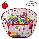 POCO DIVO Toddler Playpen Polka Dot Ball Pit 47'' Twist Pool Kids Popup Hexagon Play Tent