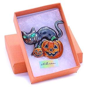 Soulbreezecollection Halloween Party Event Black Cat Kitten Jack O Lantern Pumpkin Brooch Pin Costume