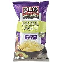 Boulder Canyon Avocado Oil Canyon Cut Kettle Cooked Potato Chips, Malt Vinegar and Sea Salt, 5.25 Ounce (Pack of 12)