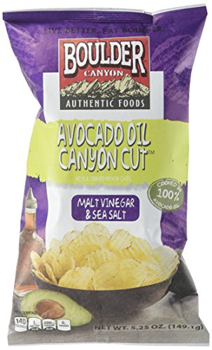 Boulder Canyon Avocado Oil Canyon Cut Kettle Cooked Potato Chips, Malt Vinegar and Sea Salt, 5.25 Ounce (Pack