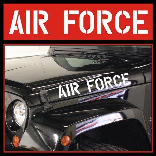 - AIR FORCE Jeep Hood Decals | Vinyl Stickers | Wrangler Rubicon 4x4 USA U.S. CJ TJ YK JK XJ (Matte Black)