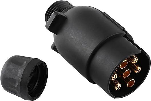 Fiche de remorque 12 V /à 7 broches Noir Adaptateur de connecteur de c/âblage en plastique /à 7 p/ôles en plastique de type N Fiche de remorque /à 7 broches