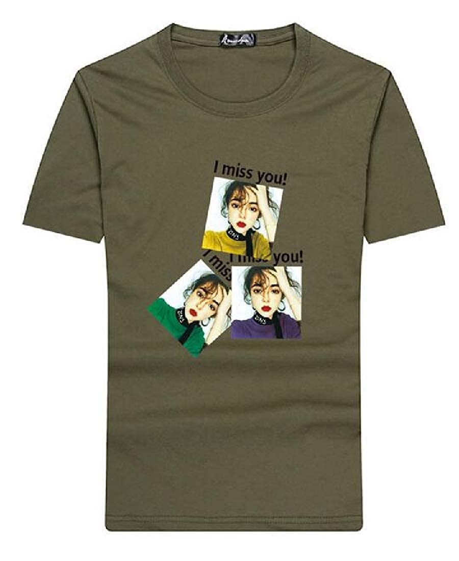 Zantt Mens Short-Sleeve Floral Print Cotton Crewneck Classic T-Shirt Tee Top