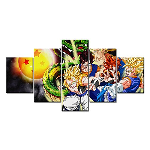 [Vegito Gogeta SSJ 4 Super Saiyan 5 Pieces Wall Arts Modern Prints on Canvas (Unframed)] (Dbz Saiyan Armor Costume)