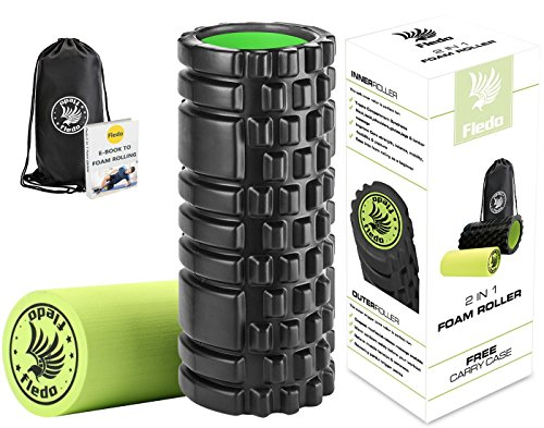 Fledo 2-in-1 Foam Roller. Trigger Point massage for Painful, Tight muscles + Smooth Rollers for Rehabilitation! FREE USER E-BOOK + FREE CARRY CASE! Black