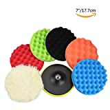 #6: GAMPRO 8pcs 7 inches Compound Drill Buffing Sponge Pads Kit for Car Sanding, Polishing, Waxing, Sealing Glaze (6 Polishing Pads+1 Woolen Buffer+1 Thread Drill Adapter with Shank)(7