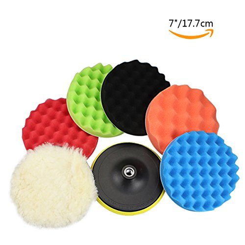 "GAMPRO 8pcs 7 inches Compound Drill Buffing Sponge Pads Kit for Car Sanding, Polishing, Waxing, Sealing Glaze (6 Polishing Pads+1 Woolen Buffer+1 Thread Drill Adapter with Shank)(7"")"